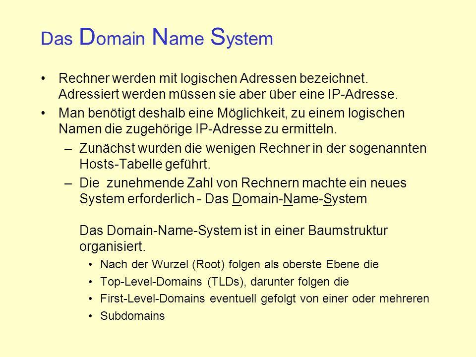 Das D omain N ame S ystem Rechner werden mit logischen Adressen bezeichnet.