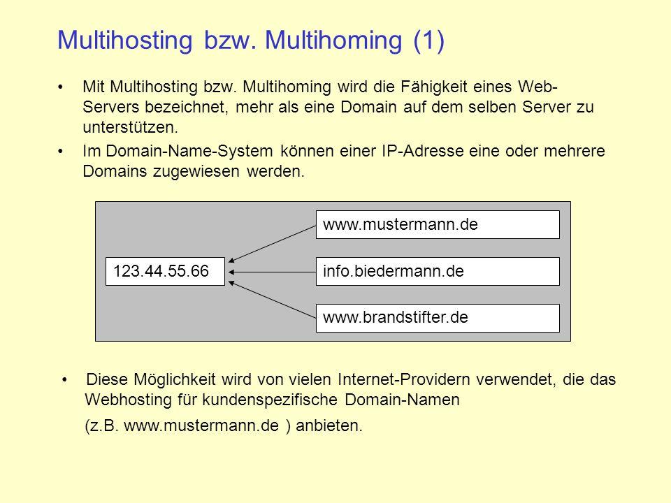 Multihosting bzw.Multihoming (1) Mit Multihosting bzw.