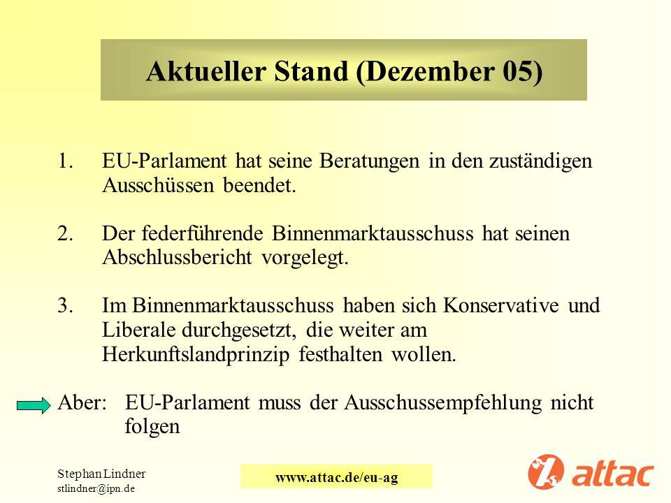 Aktueller Stand (Dezember 05) 1.EU-Parlament hat seine Beratungen in den zuständigen Ausschüssen beendet. 2.Der federführende Binnenmarktausschuss hat