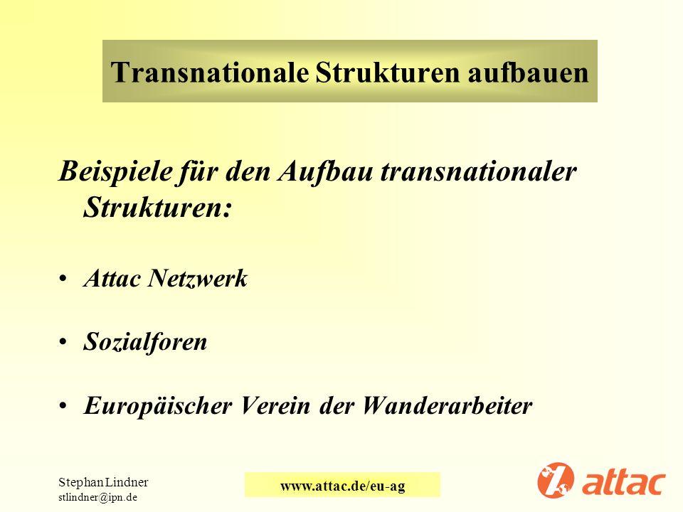 Transnationale Strukturen aufbauen Beispiele für den Aufbau transnationaler Strukturen: Attac Netzwerk Sozialforen Europäischer Verein der Wanderarbei