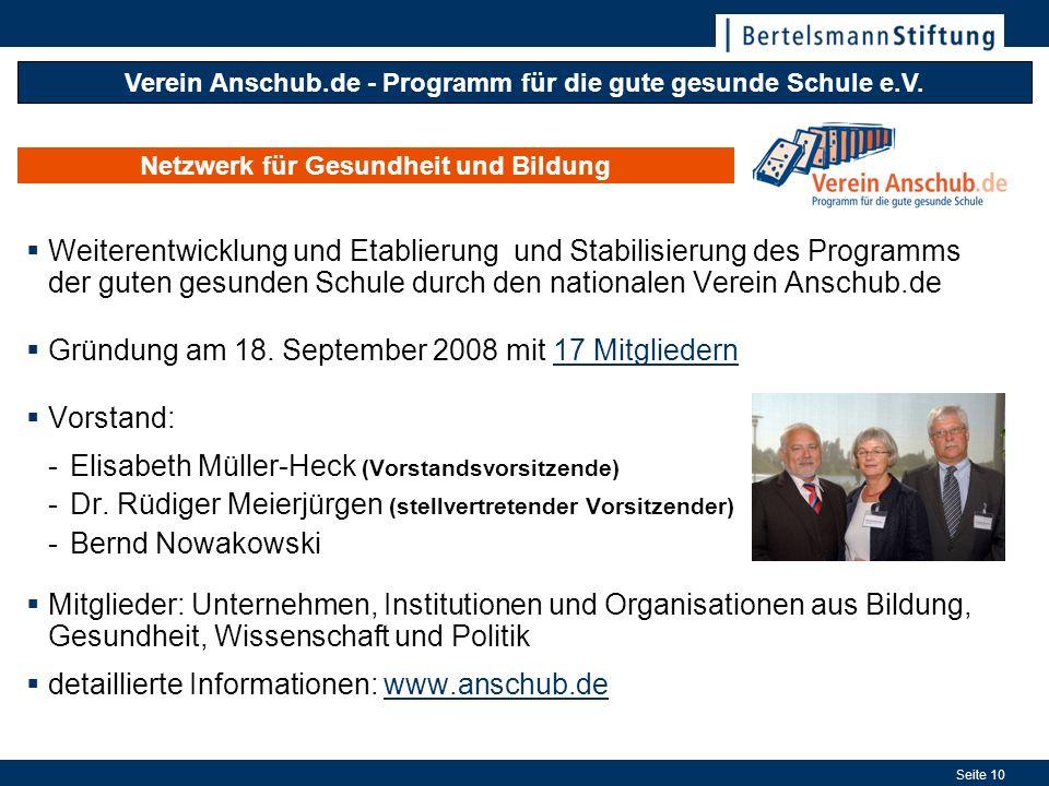Seite 10 Netzwerk für Gesundheit und Bildung Verein Anschub.de - Programm für die gute gesunde Schule e.V. Weiterentwicklung und Etablierung und Stabi