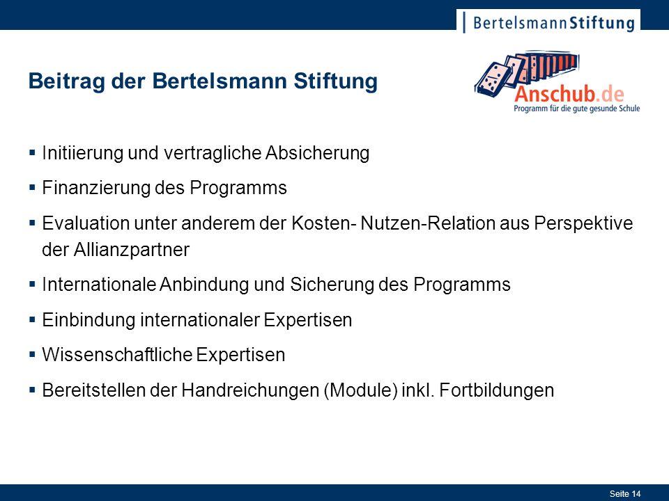 Seite 14 Beitrag der Bertelsmann Stiftung Initiierung und vertragliche Absicherung Finanzierung des Programms Evaluation unter anderem der Kosten- Nut