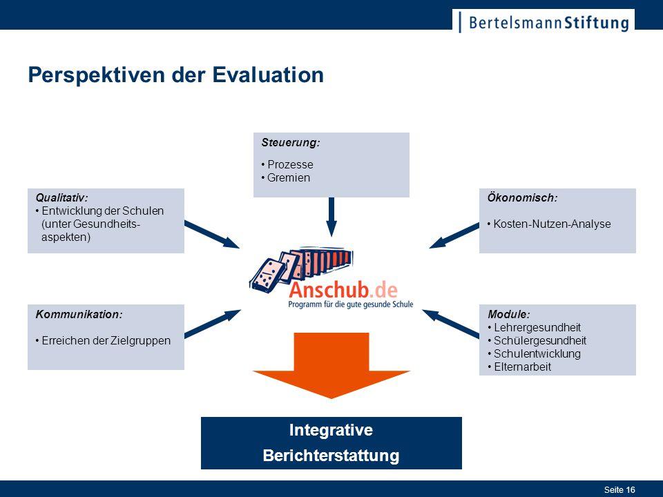 Seite 16 Integrative Berichterstattung Perspektiven der Evaluation Steuerung: Prozesse Gremien Qualitativ: Entwicklung der Schulen (unter Gesundheits-