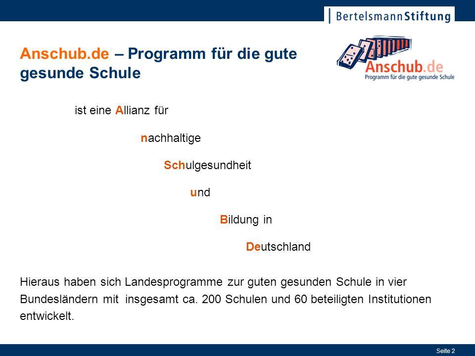 Seite 2 ist eine Allianz für nachhaltige Schulgesundheit und Bildung in Deutschland Anschub.de – Programm für die gute gesunde Schule Hieraus haben si
