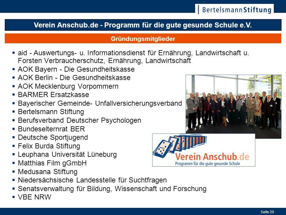Seite 20 Gründungsmitglieder Verein Anschub.de - Programm für die gute gesunde Schule e.V. aid - Auswertungs- u. Informationsdienst für Ernährung, Lan