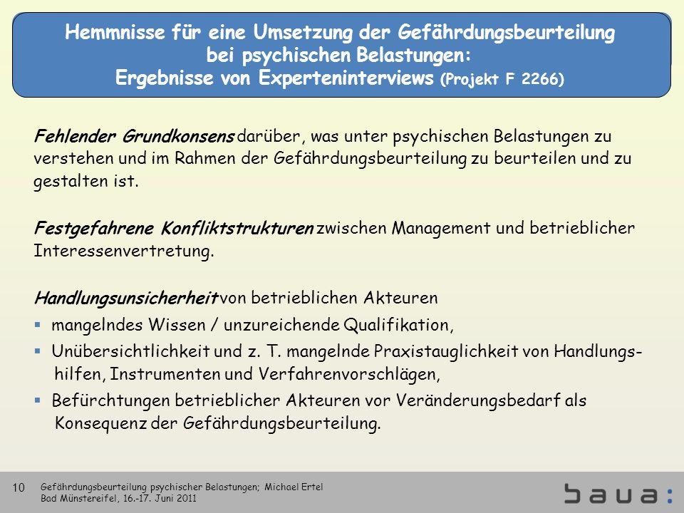 Hemmnisse für eine Umsetzung der Gefährdungsbeurteilung bei psychischen Belastungen: Ergebnisse von Experteninterviews (Projekt F 2266) Fehlender Grun
