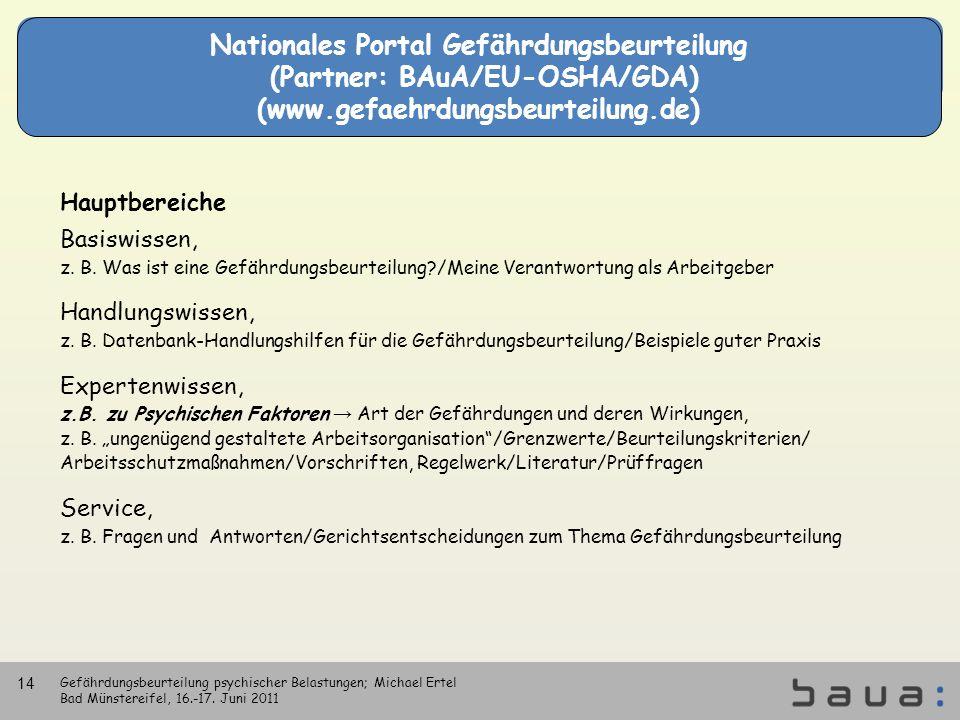 Nationales Portal Gefährdungsbeurteilung (Partner: BAuA/EU-OSHA/GDA) (www.gefaehrdungsbeurteilung.de) Hauptbereiche Basiswissen, z. B. Was ist eine Ge