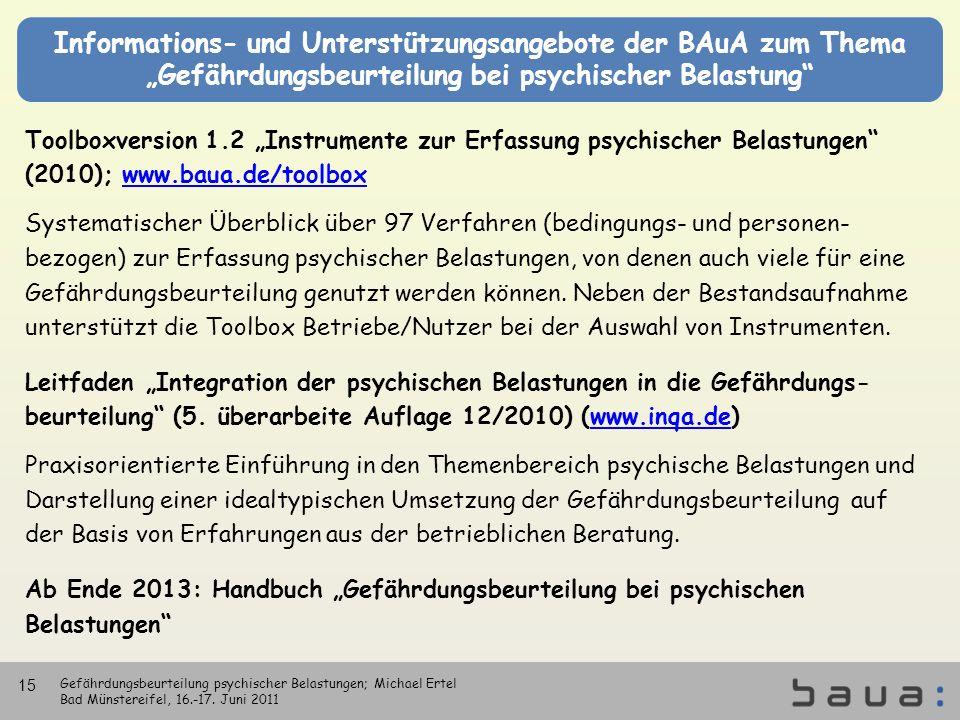 Informations- und Unterstützungsangebote der BAuA zum Thema Gefährdungsbeurteilung bei psychischer Belastung Toolboxversion 1.2 Instrumente zur Erfass