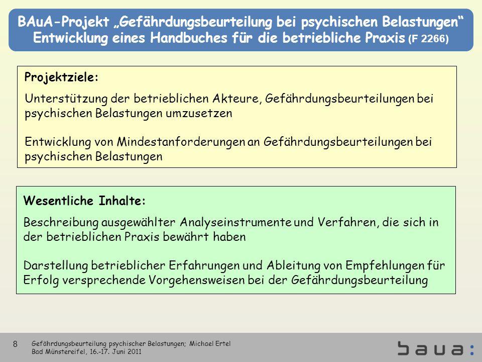 BAuA-Projekt Gefährdungsbeurteilung bei psychischen Belastungen Entwicklung eines Handbuches für die betriebliche Praxis (F 2266) Gefährdungsbeurteilu