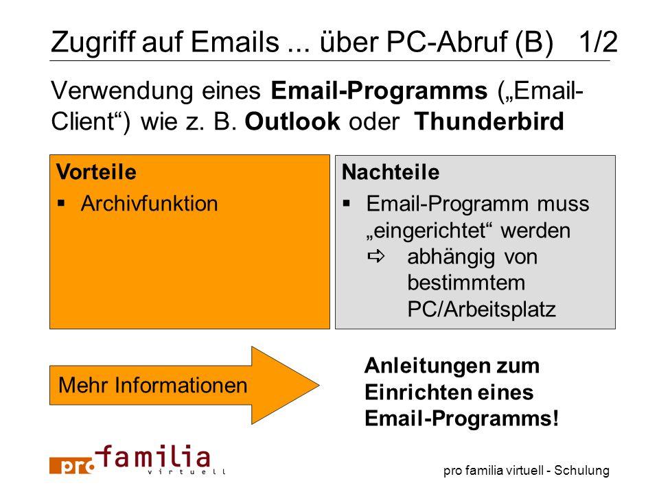 pro familia virtuell - Schulung Verwendung eines Email-Programms (Email- Client) wie z. B. Outlook oder Thunderbird Vorteile Archivfunktion Nachteile