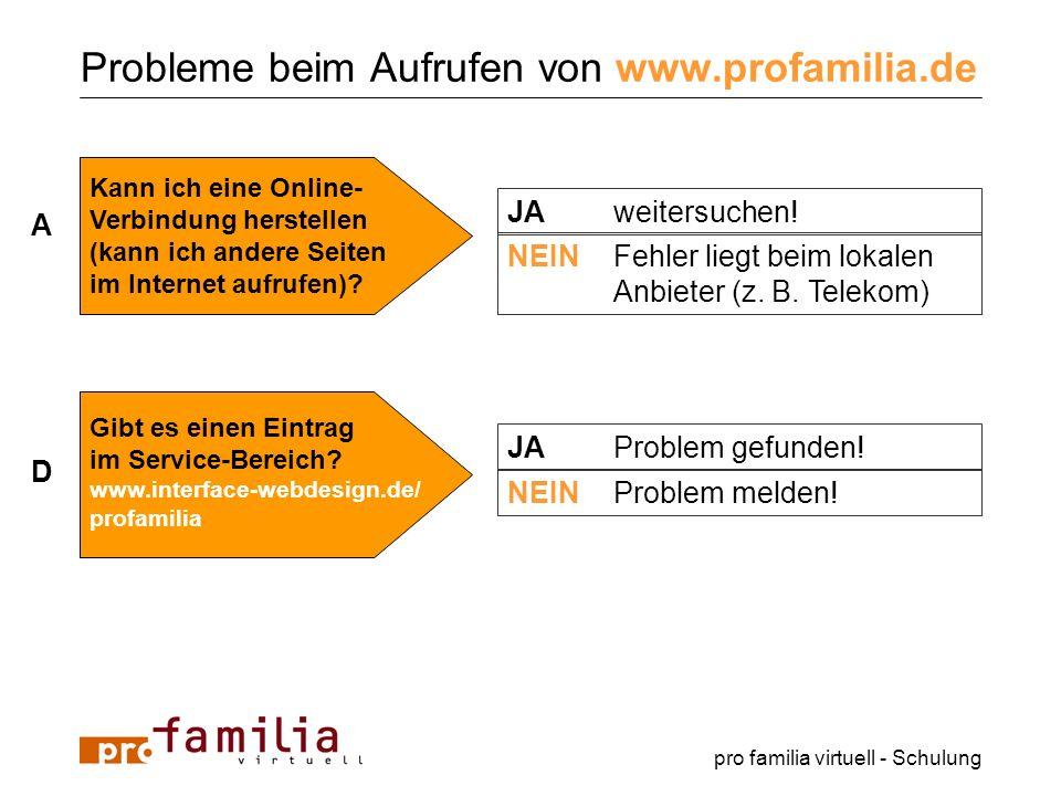 pro familia virtuell - Schulung Probleme beim Aufrufen von www.profamilia.de A JAweitersuchen! NEINFehler liegt beim lokalen Anbieter (z. B. Telekom)