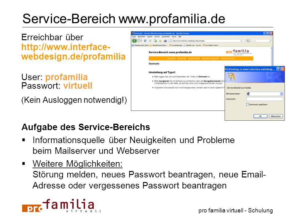 pro familia virtuell - Schulung Service-Bereich www.profamilia.de Erreichbar über http://www.interface- webdesign.de/profamilia User: profamilia Passw