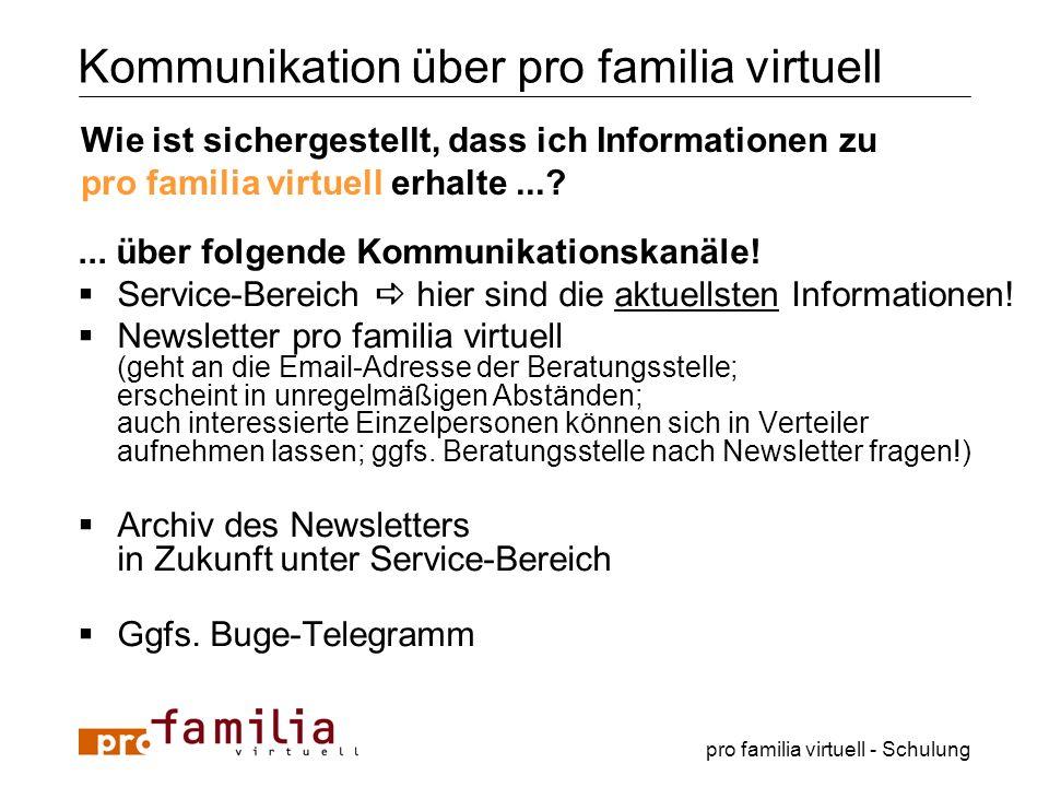 pro familia virtuell - Schulung Kommunikation über pro familia virtuell... über folgende Kommunikationskanäle! Service-Bereich hier sind die aktuellst