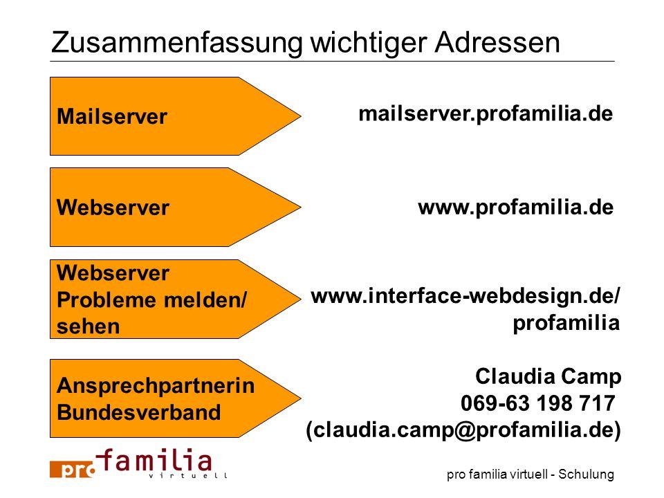 pro familia virtuell - Schulung Zusammenfassung wichtiger Adressen Mailserver mailserver.profamilia.de Webserver www.profamilia.de Webserver Probleme