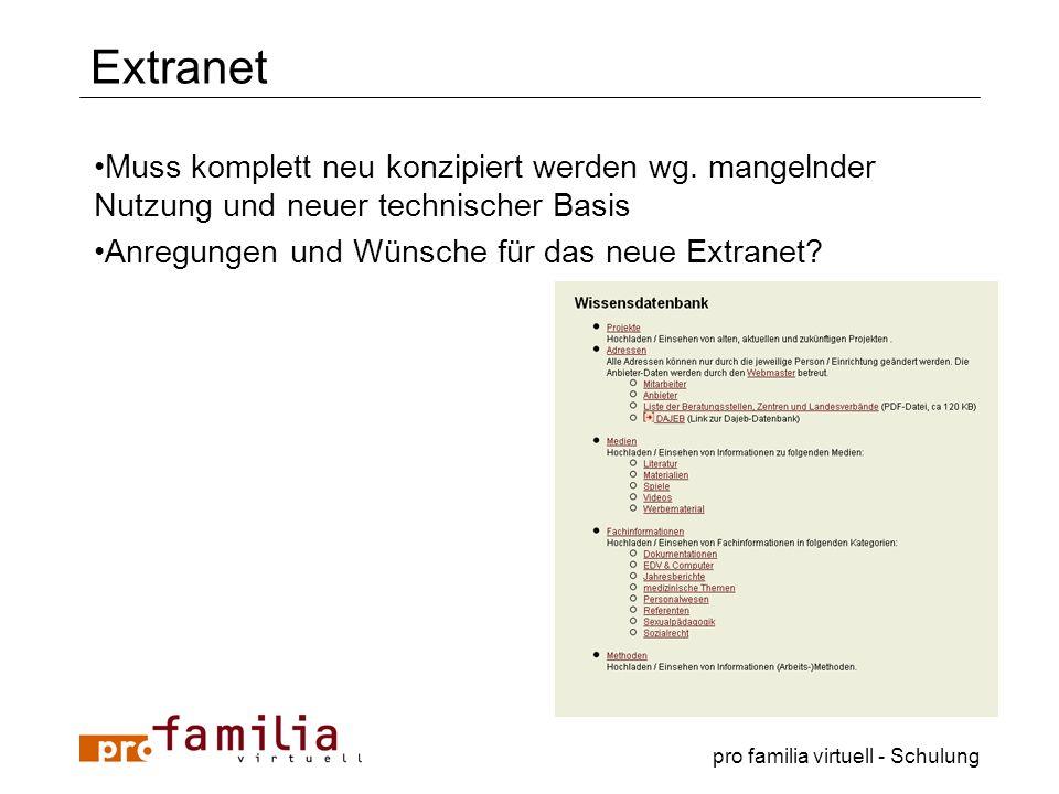 pro familia virtuell - Schulung Extranet Muss komplett neu konzipiert werden wg. mangelnder Nutzung und neuer technischer Basis Anregungen und Wünsche