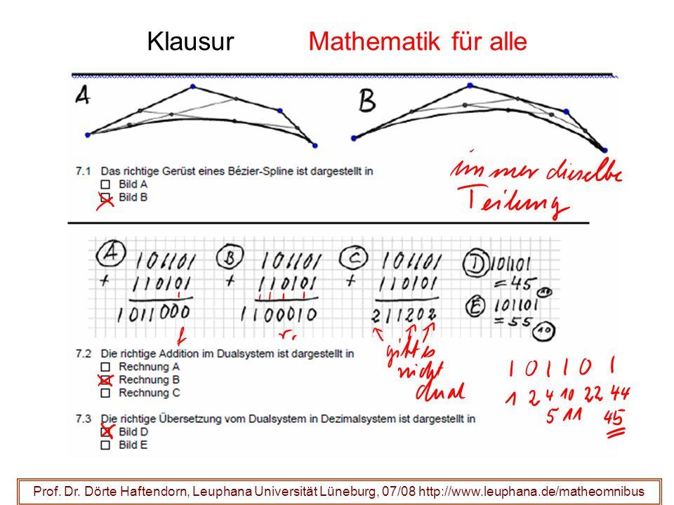 Klausur Mathematik für alle Prof. Dr. Dörte Haftendorn, Leuphana Universität Lüneburg, 07/08 http://www.leuphana.de/matheomnibus