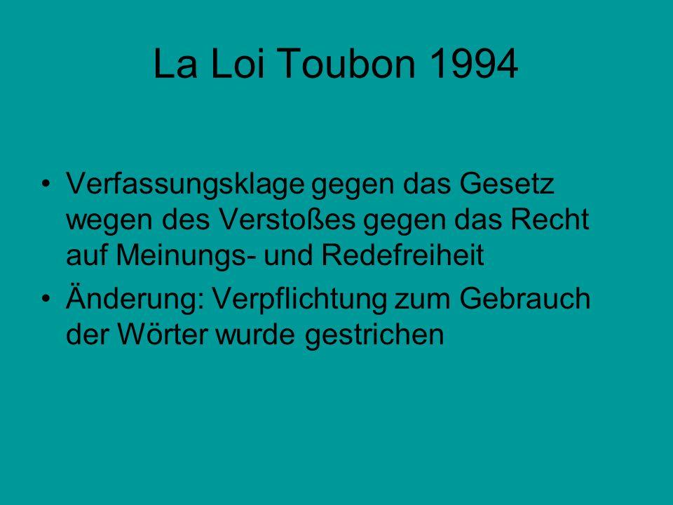La Loi Toubon 1994 Verfassungsklage gegen das Gesetz wegen des Verstoßes gegen das Recht auf Meinungs- und Redefreiheit Änderung: Verpflichtung zum Ge