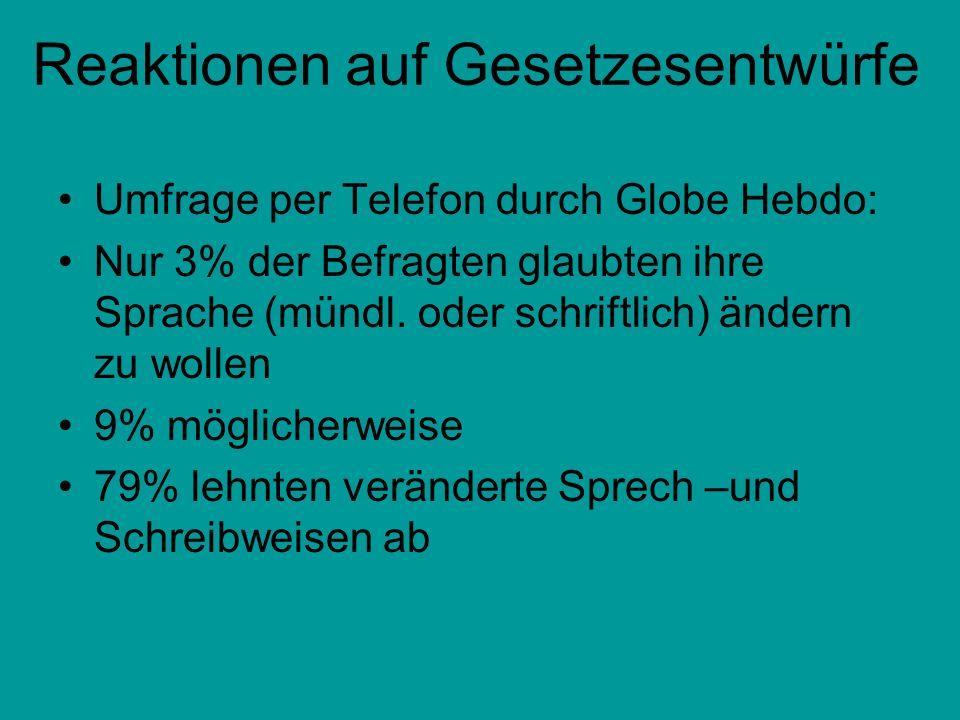 Reaktionen auf Gesetzesentwürfe Umfrage per Telefon durch Globe Hebdo: Nur 3% der Befragten glaubten ihre Sprache (mündl. oder schriftlich) ändern zu