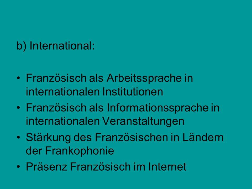 b) International: Französisch als Arbeitssprache in internationalen Institutionen Französisch als Informationssprache in internationalen Veranstaltung