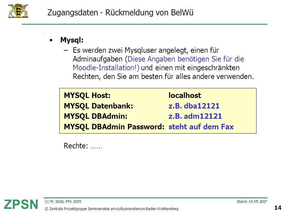 © Zentrale Projektgruppe Seminarnetze am Kultusministerium Baden-Württemberg ZPSN Stand: 14.05.2007 14 (c) M. Stütz, PFS 2005 Zugangsdaten - Rückmeldu