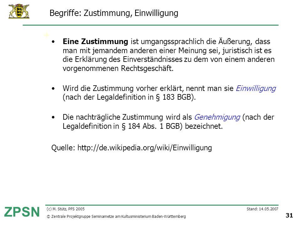 © Zentrale Projektgruppe Seminarnetze am Kultusministerium Baden-Württemberg ZPSN Stand: 14.05.2007 31 (c) M. Stütz, PFS 2005 Begriffe: Zustimmung, Ei