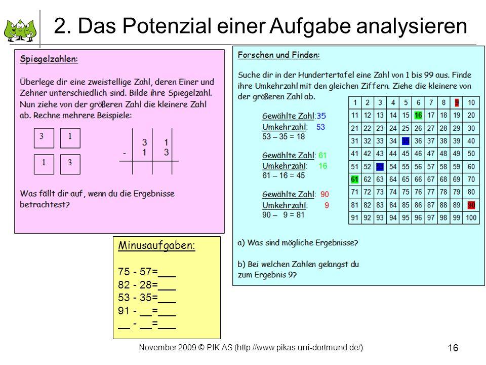16 2. Das Potenzial einer Aufgabe analysieren Minusaufgaben : 75 - 57=___ 82 - 28=___ 53 - 35=___ 91 - =___ - =___ November 2009 © PIK AS (http://www.