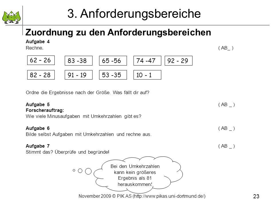 November 2009 © PIK AS (http://www.pikas.uni-dortmund.de/) 23 Aufgabe 4 Rechne. ( AB_ ) Ordne die Ergebnisse nach der Größe. Was fällt dir auf? Aufgab