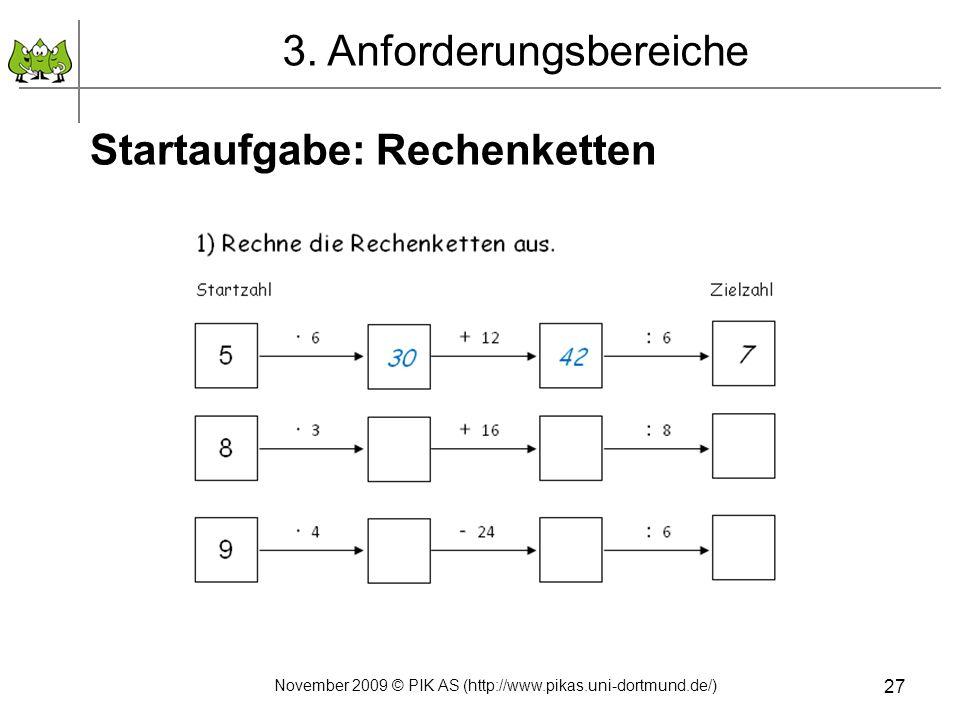November 2009 © PIK AS (http://www.pikas.uni-dortmund.de/) 27 Startaufgabe: Rechenketten 3. Anforderungsbereiche