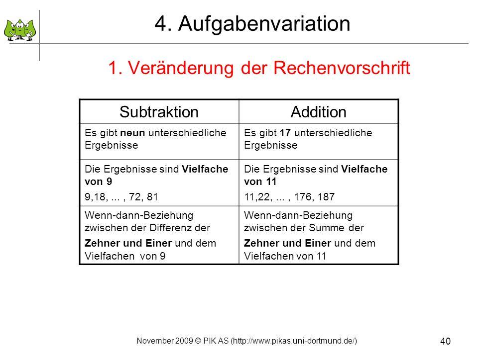 40 4. Aufgabenvariation 1. Veränderung der Rechenvorschrift SubtraktionAddition Es gibt neun unterschiedliche Ergebnisse Es gibt 17 unterschiedliche E