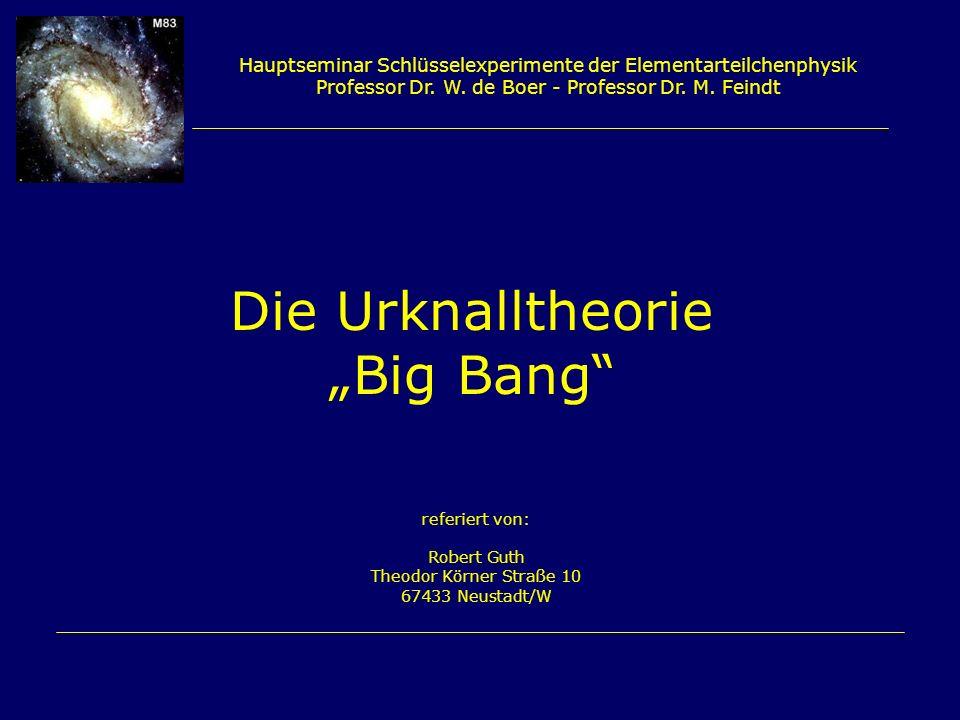 Hauptseminar Schlüsselexperimente der Elementarteilchenphysik Professor Dr. W. de Boer - Professor Dr. M. Feindt Die Urknalltheorie Big Bang referiert