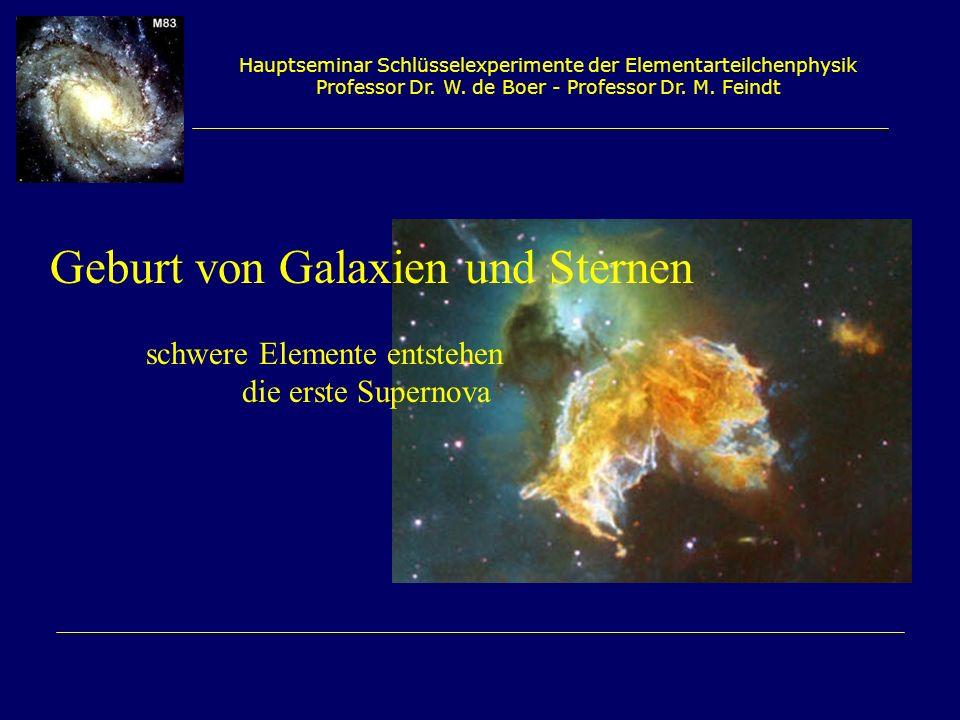 Hauptseminar Schlüsselexperimente der Elementarteilchenphysik Professor Dr. W. de Boer - Professor Dr. M. Feindt Geburt von Galaxien und Sternen schwe