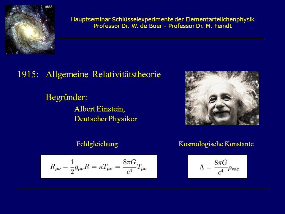 Hauptseminar Schlüsselexperimente der Elementarteilchenphysik Professor Dr. W. de Boer - Professor Dr. M. Feindt 1915: Allgemeine Relativitätstheorie