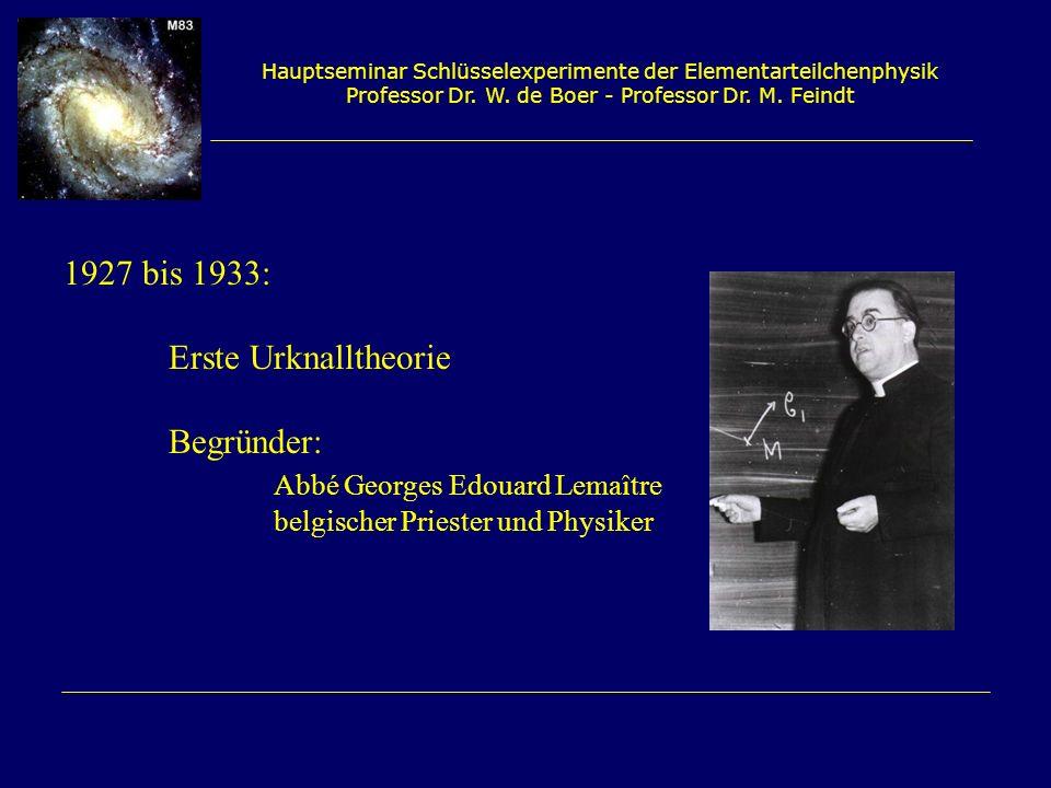 Hauptseminar Schlüsselexperimente der Elementarteilchenphysik Professor Dr. W. de Boer - Professor Dr. M. Feindt 1927 bis 1933: Erste Urknalltheorie B