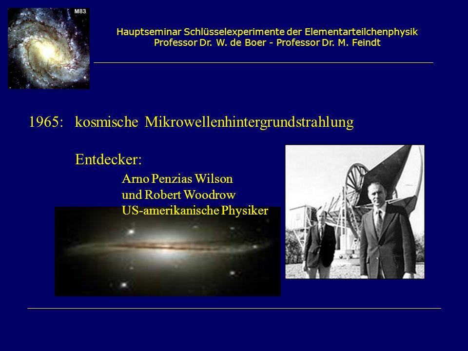 Hauptseminar Schlüsselexperimente der Elementarteilchenphysik Professor Dr. W. de Boer - Professor Dr. M. Feindt 1965:kosmische Mikrowellenhintergrund