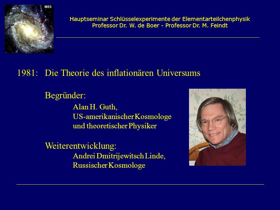 Hauptseminar Schlüsselexperimente der Elementarteilchenphysik Professor Dr. W. de Boer - Professor Dr. M. Feindt 1981:Die Theorie des inflationären Un