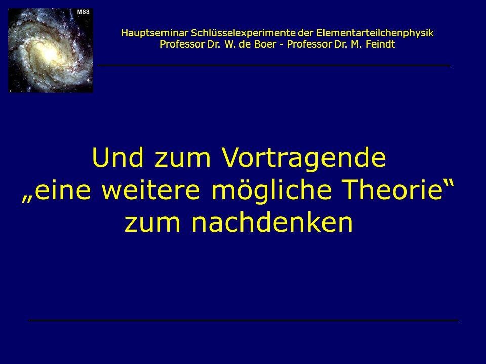 Hauptseminar Schlüsselexperimente der Elementarteilchenphysik Professor Dr. W. de Boer - Professor Dr. M. Feindt Und zum Vortragende eine weitere mögl