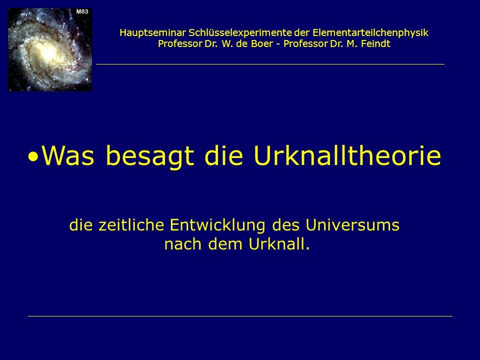 Hauptseminar Schlüsselexperimente der Elementarteilchenphysik Professor Dr. W. de Boer - Professor Dr. M. Feindt Was besagt die Urknalltheorie die zei
