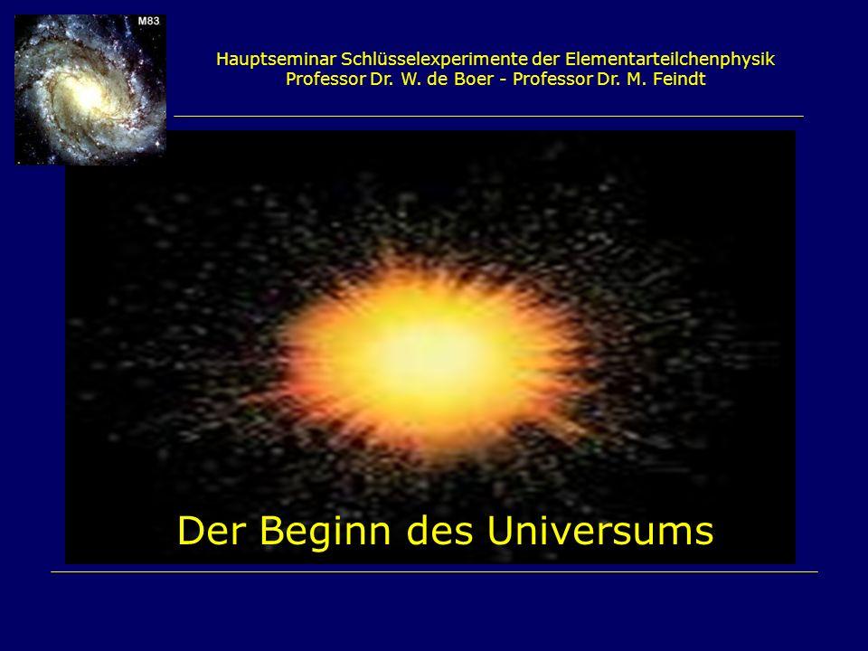 Hauptseminar Schlüsselexperimente der Elementarteilchenphysik Professor Dr. W. de Boer - Professor Dr. M. Feindt Der Beginn des Universums