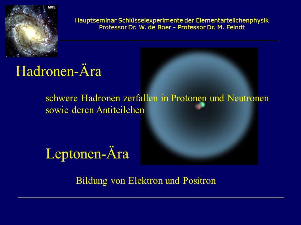 Hauptseminar Schlüsselexperimente der Elementarteilchenphysik Professor Dr. W. de Boer - Professor Dr. M. Feindt Hadronen-Ära schwere Hadronen zerfall