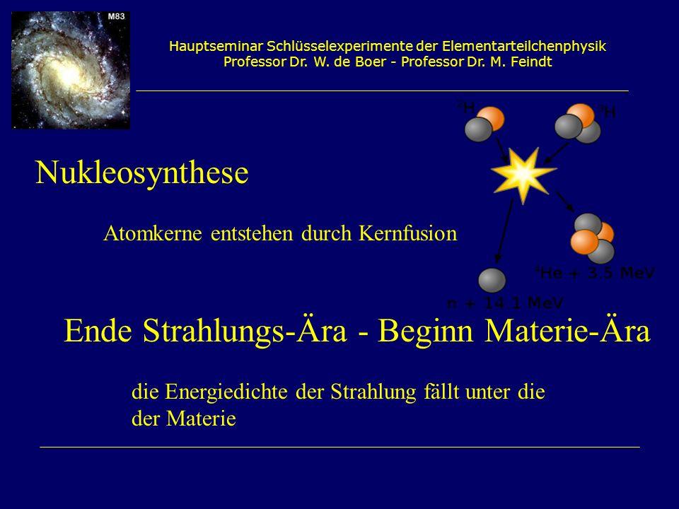 Hauptseminar Schlüsselexperimente der Elementarteilchenphysik Professor Dr. W. de Boer - Professor Dr. M. Feindt Nukleosynthese Atomkerne entstehen du
