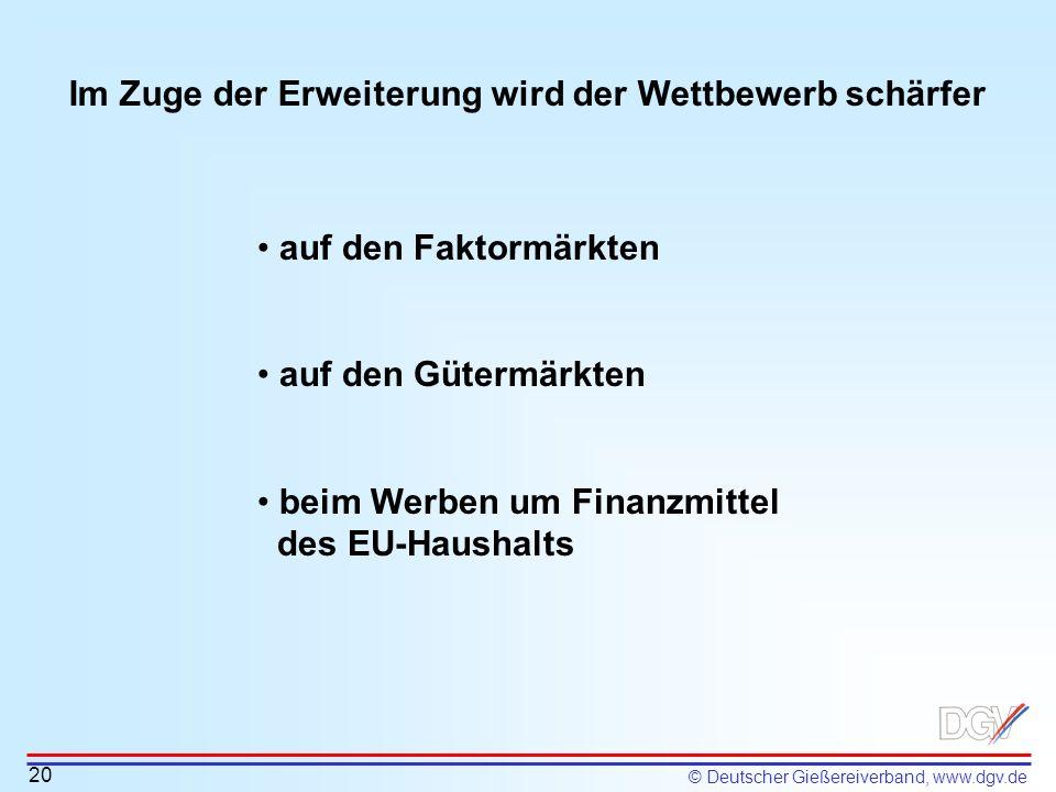 © Deutscher Gießereiverband, www.dgv.de Im Zuge der Erweiterung wird der Wettbewerb schärfer 20 auf den Faktormärkten auf den Gütermärkten beim Werben