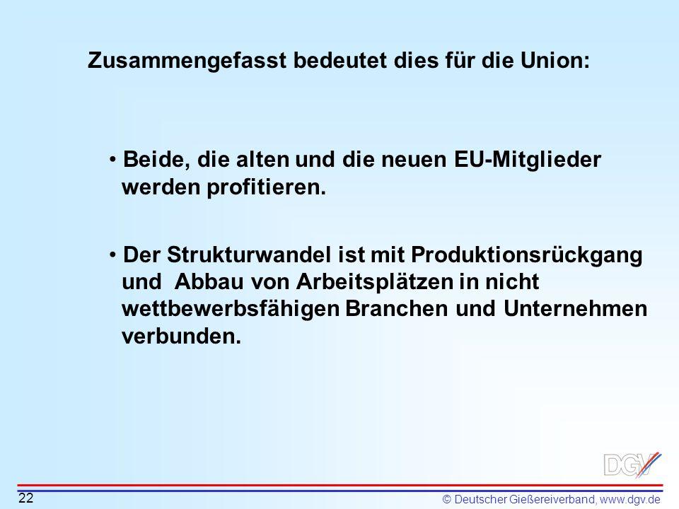© Deutscher Gießereiverband, www.dgv.de Zusammengefasst bedeutet dies für die Union: 22 Beide, die alten und die neuen EU-Mitglieder werden profitiere
