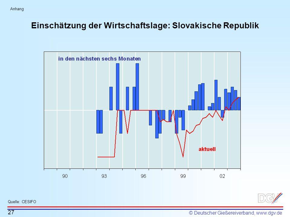 © Deutscher Gießereiverband, www.dgv.de Einschätzung der Wirtschaftslage: Slovakische Republik 27 Quelle: CESIFO Anhang