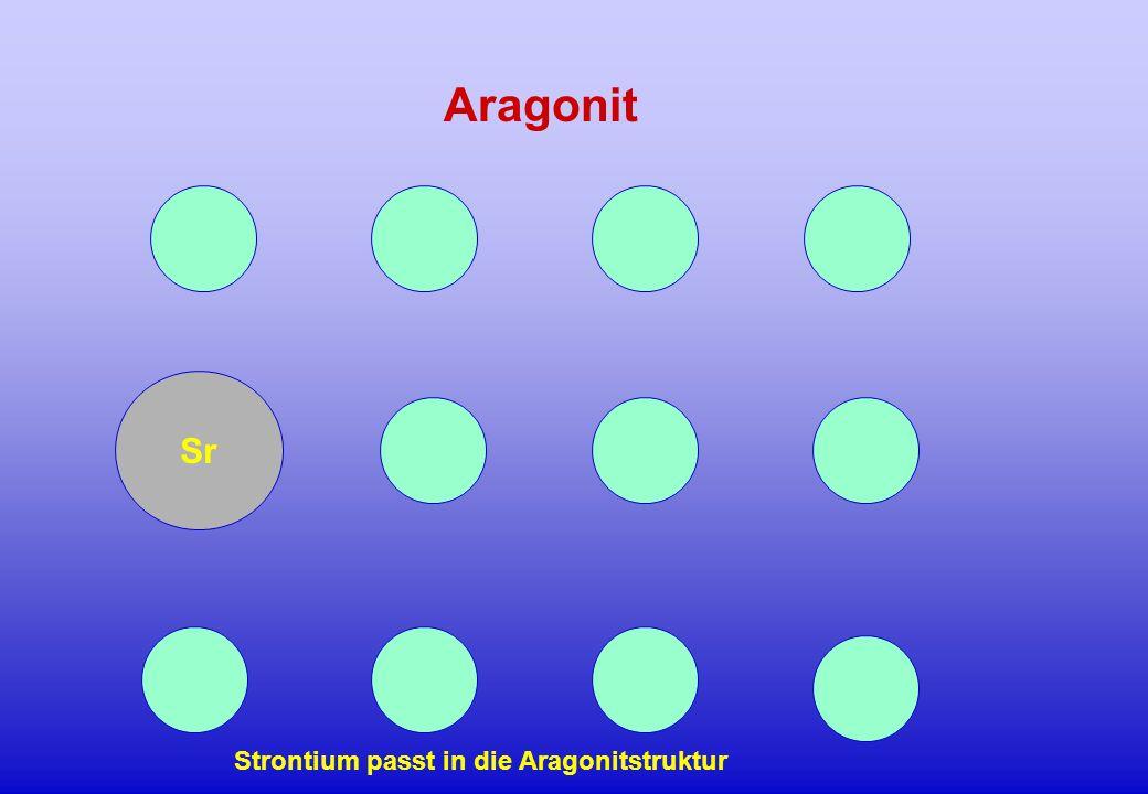 Sr Aragonit Strontium passt in die Aragonitstruktur