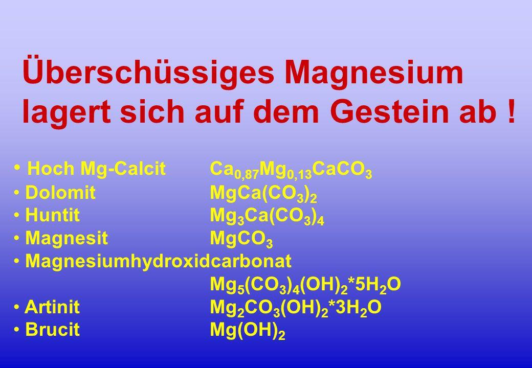 Überschüssiges Magnesium lagert sich auf dem Gestein ab ! Hoch Mg-Calcit Ca 0,87 Mg 0,13 CaCO 3 DolomitMgCa(CO 3 ) 2 HuntitMg 3 Ca(CO 3 ) 4 MagnesitMg