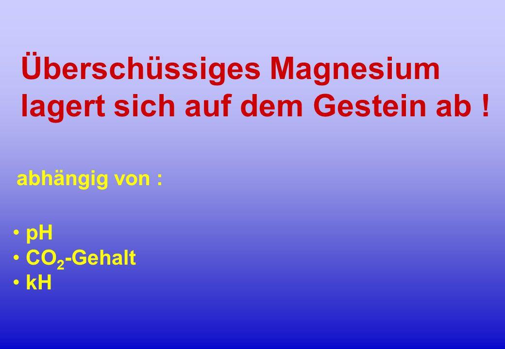 Überschüssiges Magnesium lagert sich auf dem Gestein ab ! pH CO 2 -Gehalt kH abhängig von :