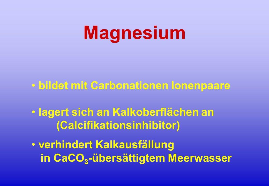 Magnesium bildet mit Carbonationen Ionenpaare lagert sich an Kalkoberflächen an (Calcifikationsinhibitor) verhindert Kalkausfällung in CaCO 3 -übersät