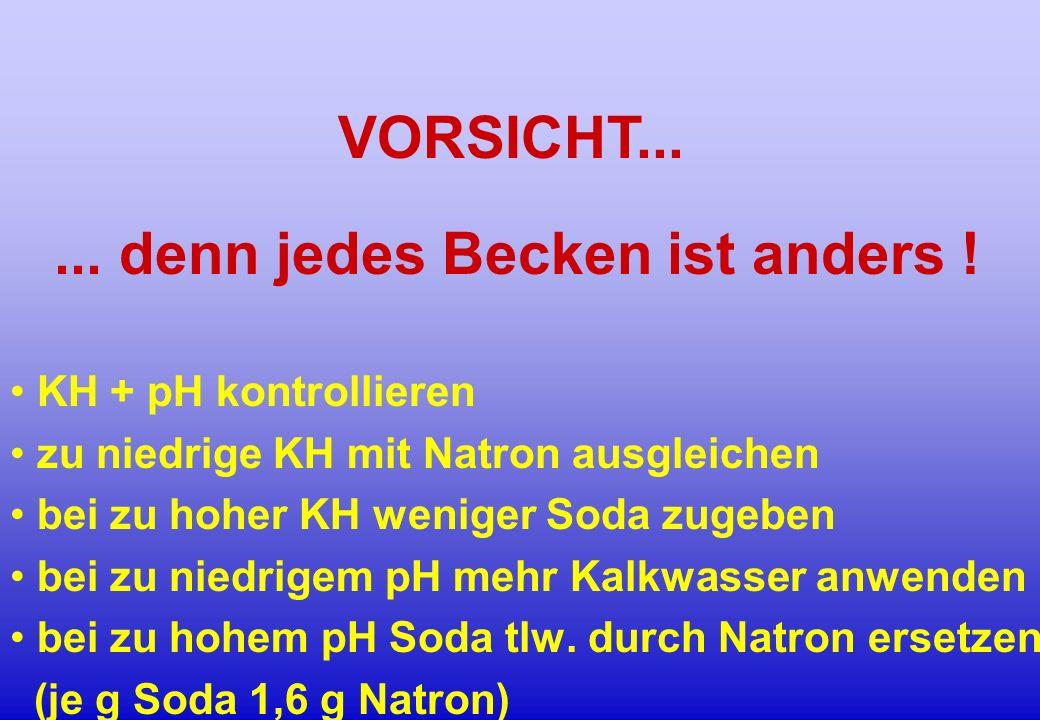 ... denn jedes Becken ist anders ! KH + pH kontrollieren zu niedrige KH mit Natron ausgleichen bei zu hoher KH weniger Soda zugeben bei zu niedrigem p