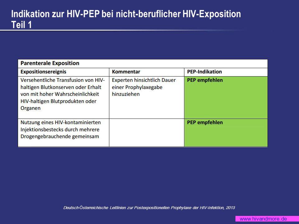 www.hivandmore.de Indikation zur HIV-PEP bei nicht-beruflicher HIV-Exposition Teil 2 Deutsch- Ö sterreichische Leitlinien zur Postexpositionellen Prophylaxe der HIV-Infektion, 2013