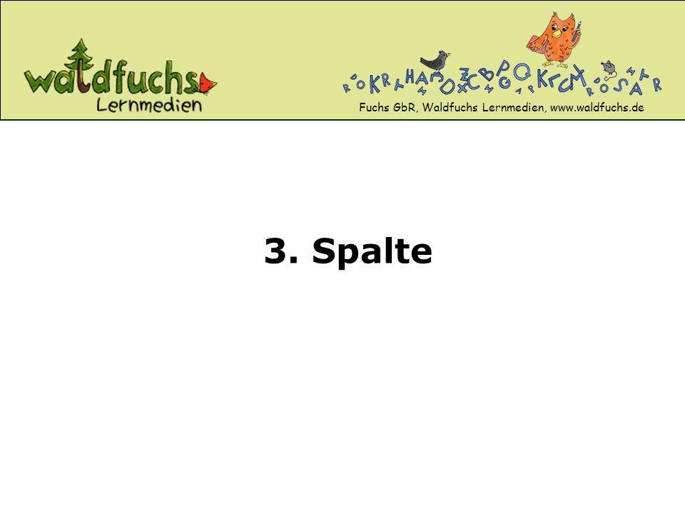 Fuchs GbR, Waldfuchs Lernmedien, www.waldfuchs.de 3. Spalte